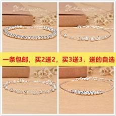Korean version of the simple personality sterling silver 925 foot chain trend fashion women's anklet jewelry adjustable wild Sen gift