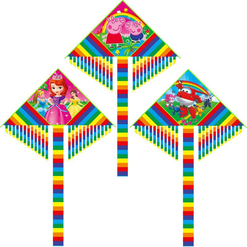 儿童风筝新款1.5米卡通三角小猪佩奇汪汪队初学者微风易飞包邮