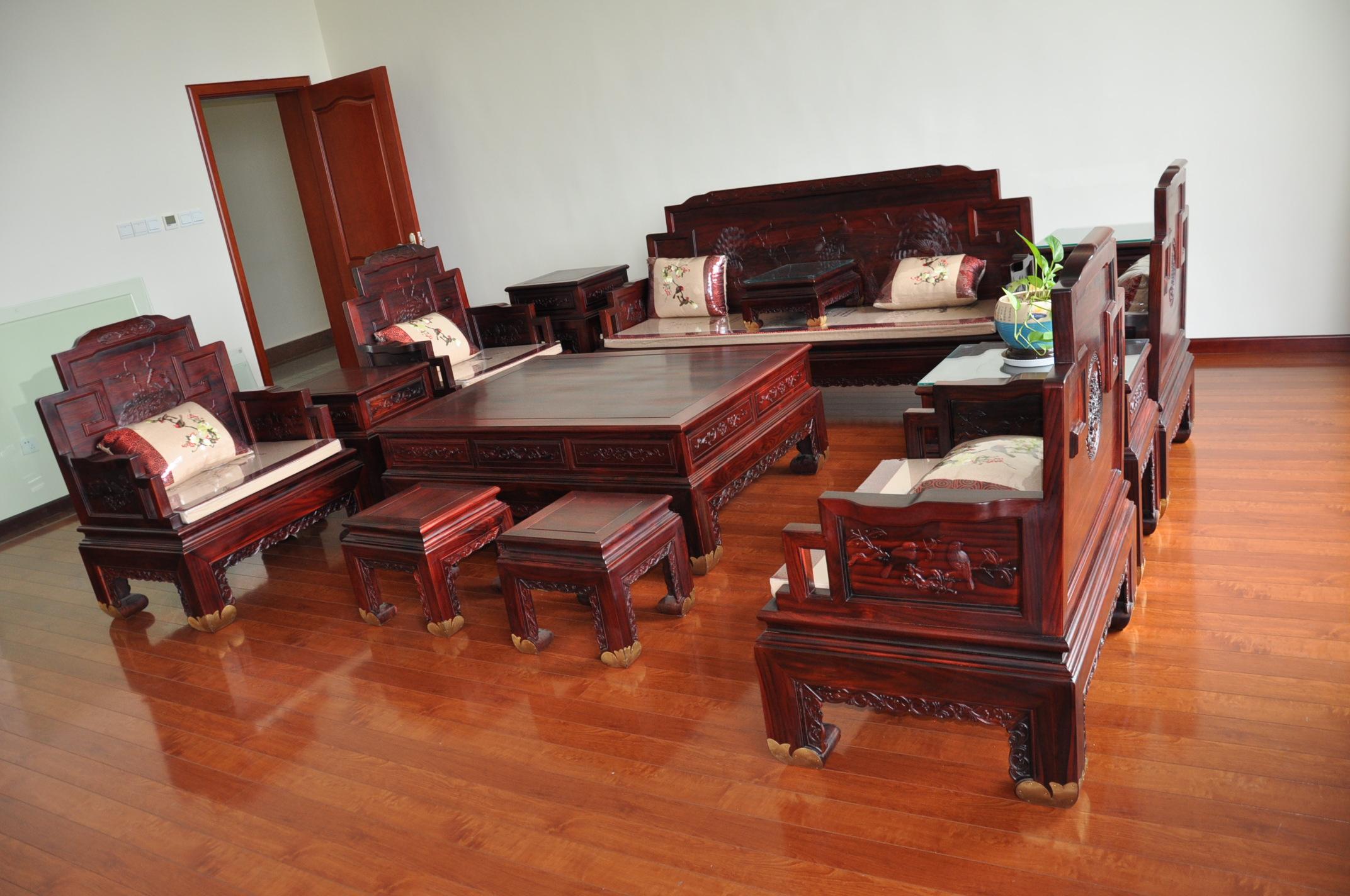 青島國標紅木新中式全實木沙發金鳳十三件組合沙發進口酸枝木家具圖片