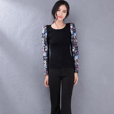 Cool gamma spring fashion Slim printed stitching sleeve knit sweater 678