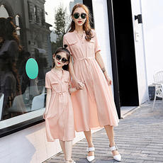 Cool new products V-neck Sleeve Drawstring Waist Pure Temperament Medium Long section Parent-child dress 1755