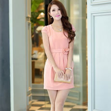Cool new temperament round collar solid color elegant short-sleeved dress 9055