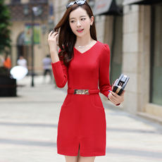 Cool new spring temperament was thin solid V-neck long-sleeved dress 1570