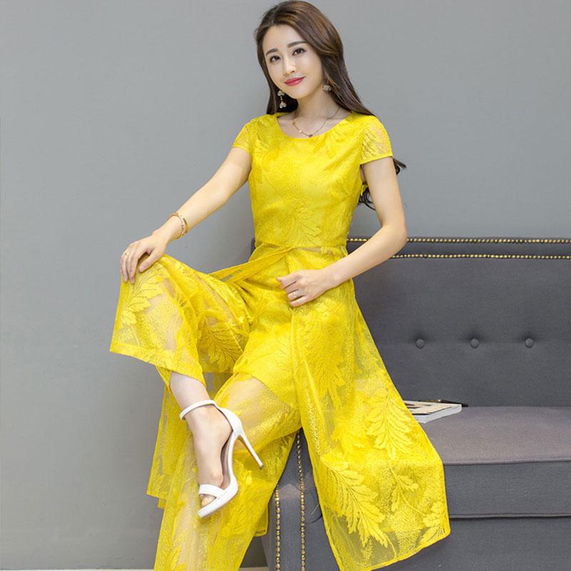 3.13 酷伽夏季新品时尚套装纯色气质蕾丝气质优雅两件套8129