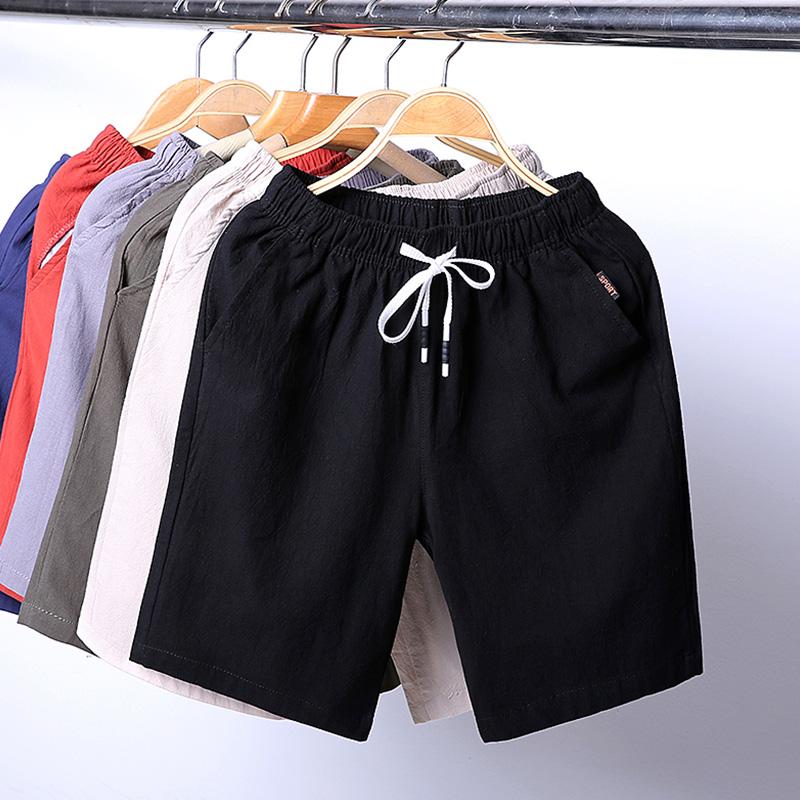 短裤男士马裤子潮流韩版宽松运动休闲夏季装薄款纯棉亚麻五分中裤
