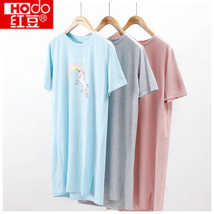 Hodo/红豆专柜同款女士睡裙卡通印花休闲短袖非纯棉睡衣家居服