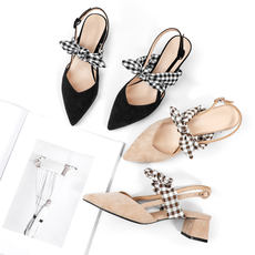 2018 spring and summer new black pointed lattice single shoes female thick with bow sandals v mouth laced fairy shoes