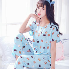 Cotton silk pajamas women summer suit short-sleeved trousers Korean version of loose thin section summer cotton silk home service female two-piece