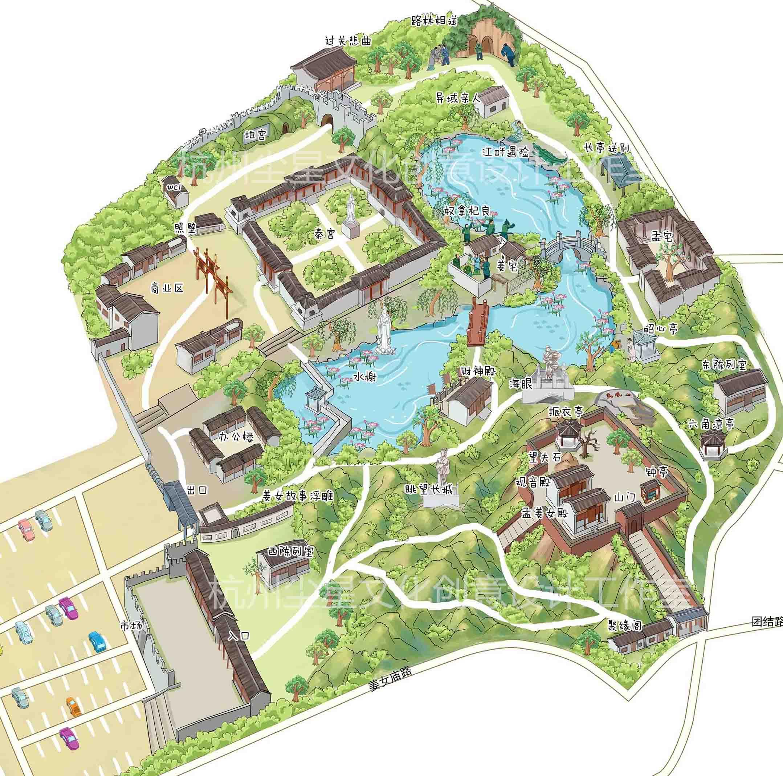 设计手绘卡通电子地图定制制作可爱场景校园景区游玩地图建筑设计