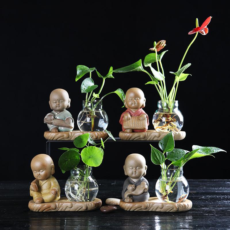 玻璃花盆水培透明绿萝铜钱草风信子容器客厅无孔迷你小号和尚花盆
