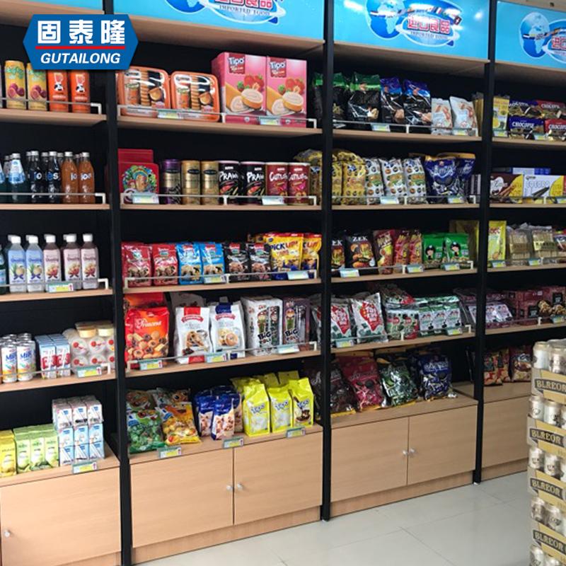 便利店超市钢木货架置物架零食休闲食品商店展示架展柜陈列柜批发