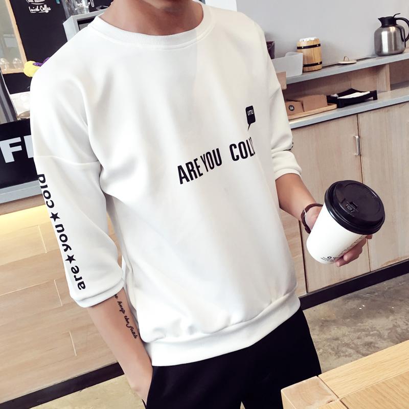 短袖T恤男士7七分袖夏季新款学生半袖衣服5五分袖体恤 韩版男装潮