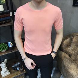 夏季圆领冰丝短袖毛衣男针织衫韩版青年纯色圆领T恤男半袖线衣衫