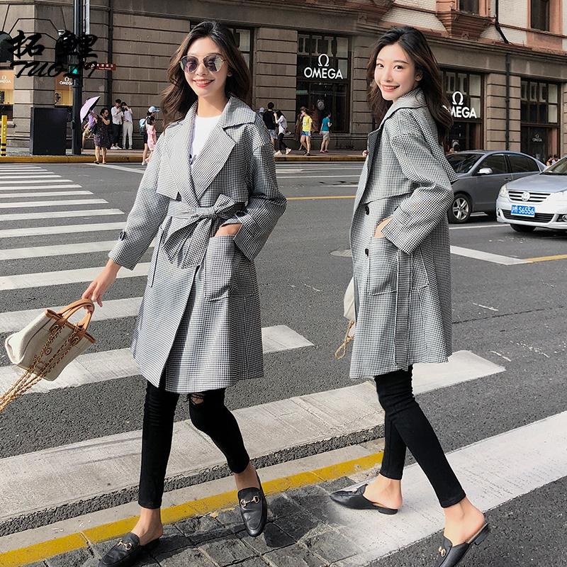 秋季2019秋新款韩版中长款千鸟格风衣女西装领宽松薄款格子外套潮