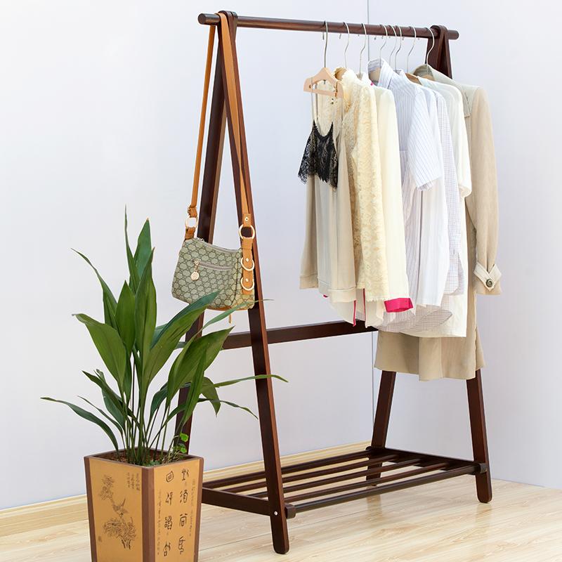 衣帽架落地实木挂衣架卧室简约现代木制衣服架子松木