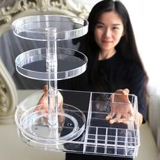 Charm fashion desktop dressing table finishing rack simple vibrating transparent acrylic rotating cosmetic storage box