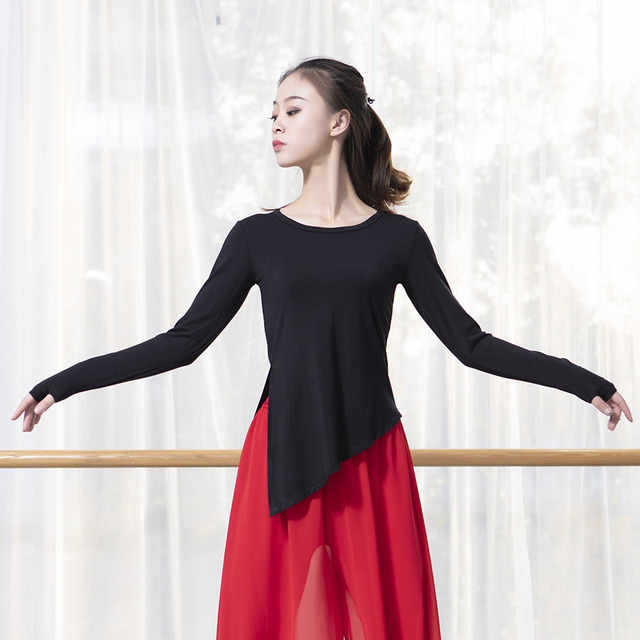 套手指现代舞服装**莫代尔圆领长袖黑上衣秋冬舞蹈练功服女古典