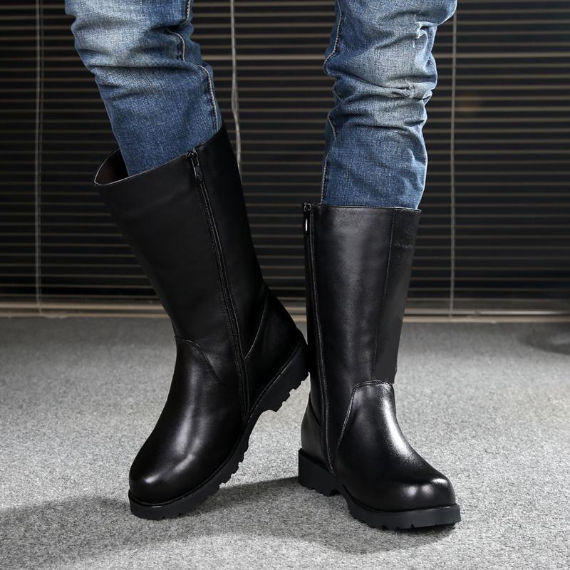 冬季男士真皮靴拉链高筒男靴子头层牛皮羊毛蒙古马靴长筒阅兵军靴