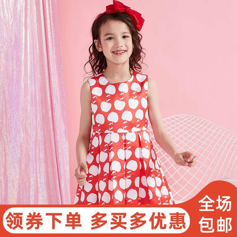 moomoo童装夏新款苹果图案公主背心裙女童百褶裙迪士尼学生连衣裙