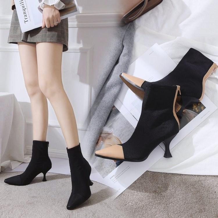 2018冬季新款短靴靴子女拼色小方头高跟中靴马丁靴女后拉链弹力靴