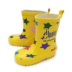 特价专柜儿童雨靴男童女童高级雨鞋宝宝水靴防滑橡胶彩色黄色星星
