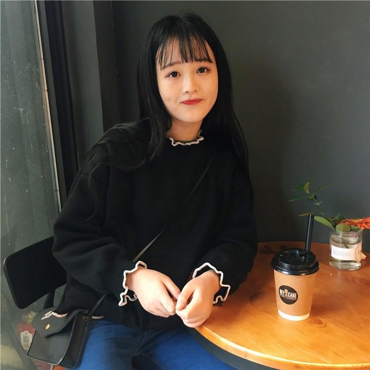 秋装女装韩版木耳边半高领套头学生卫衣宽松休闲显瘦长袖上衣外套