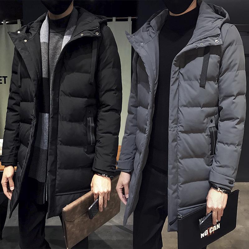 冬季中长款棉衣男士外套韩版潮流青年羽绒棉服加厚连帽棉袄子冬装