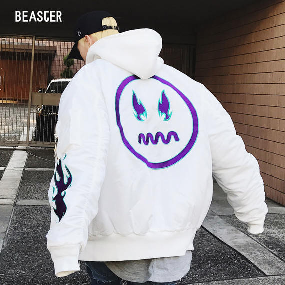 BEASTER 17FW Little Devil Flame Grimace Thickened Couple Cotton Tide Tide Hooded Baseball Jacket Men and women