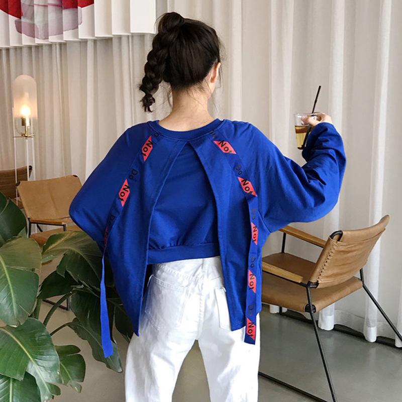 秋季女装韩版宽松字母印花个性后背飘带圆领长袖套头卫衣上衣外套