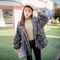Autumn and winter new loose chic plaid lantern sleeves short children's student woolen coat small man woolen coat