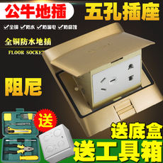 Bull ground socket copper waterproof damping power supply 5 hole hidden floor ground household five-hole socket panel