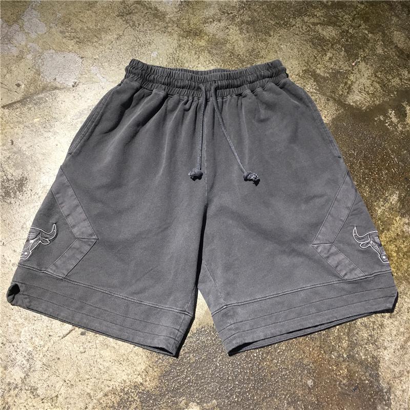 高品质19SS做旧洗水抽绳高街休闲短裤公牛刺绣复古篮球运动裤情侣