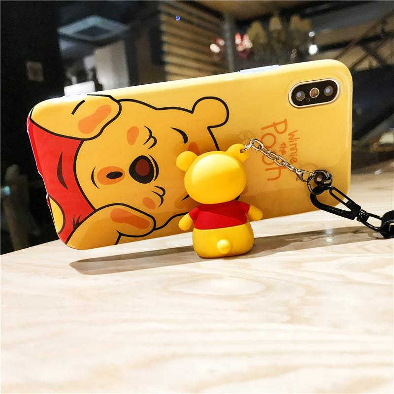 苹果iphone6s/7/8plus/x手机壳小熊全包硅胶抖音商务卡通渐变色图片
