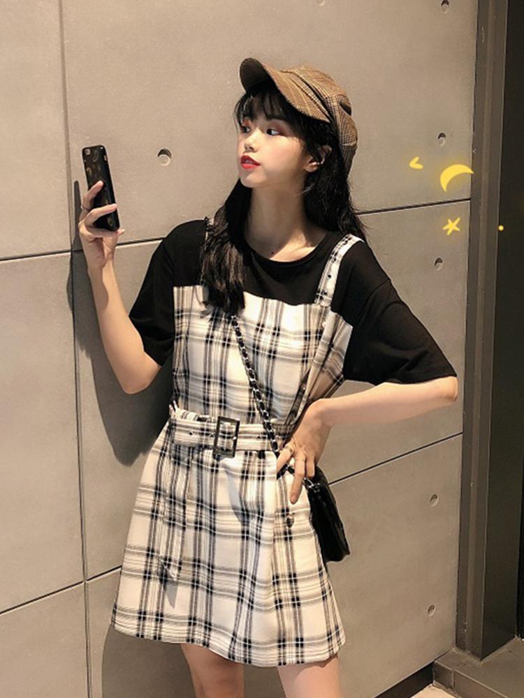 2019新款韩版夏季性感露背短裙格子连衣裙收腰显瘦a字吊带子女装