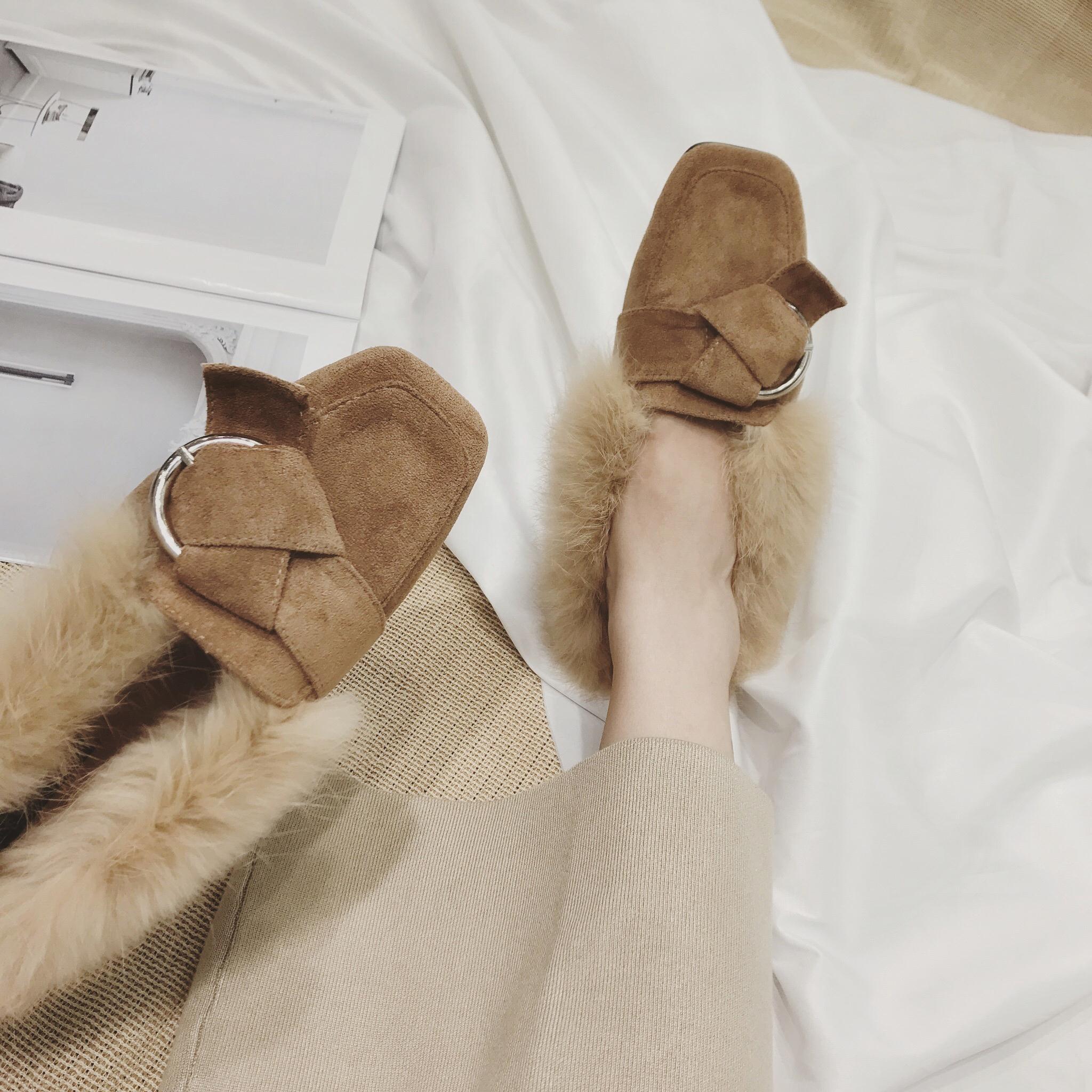 网红单鞋女2018秋冬新款chic仙女方头平底保暖豆豆鞋女时尚学生鞋