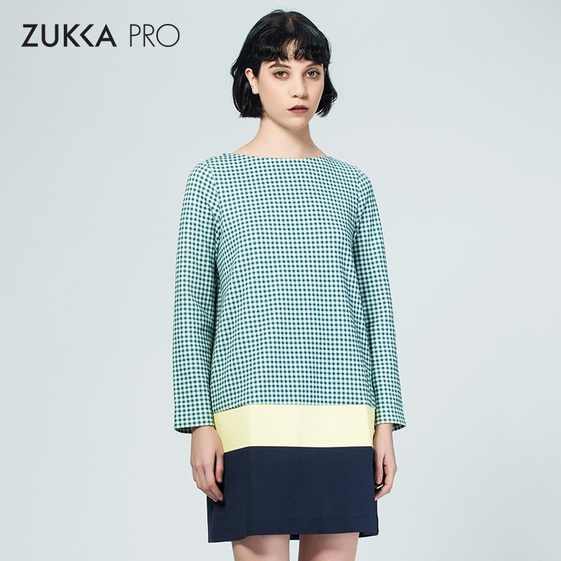 ZUKKA PRO卓卡秋季时尚撞色格纹拼接长袖一字领连衣裙