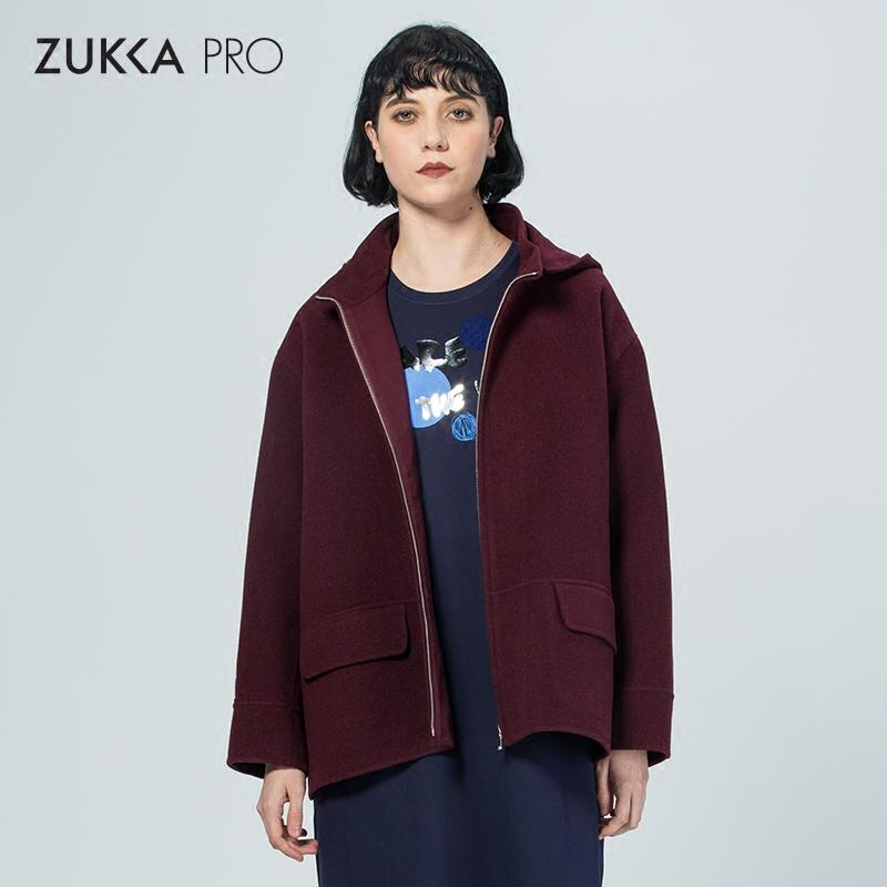 ZUKKA PRO卓卡冬季时尚新品率性纯色羊毛呢子保暖连帽外套