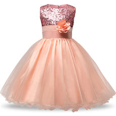 Girls flower girl princess dress Europe and America sequins flowers pettiskirt dress children's skirt girls children show skirt multicolor