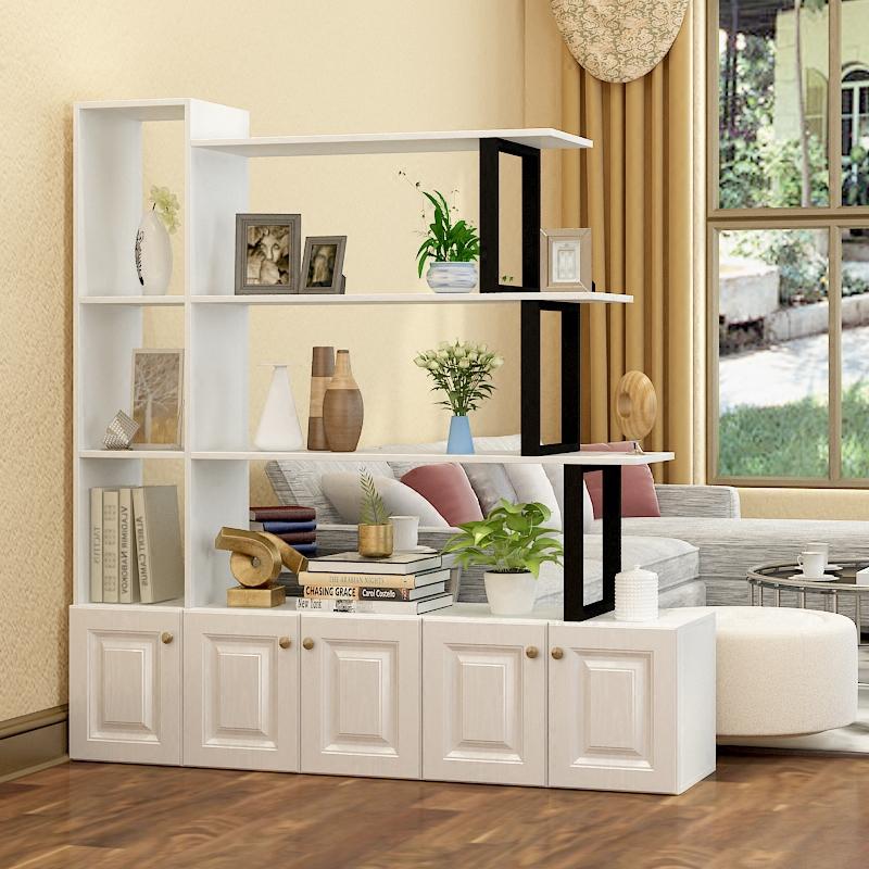 隆喜创意客厅隔断柜简约现代门厅玄关柜钢木置物架书架多层展示架