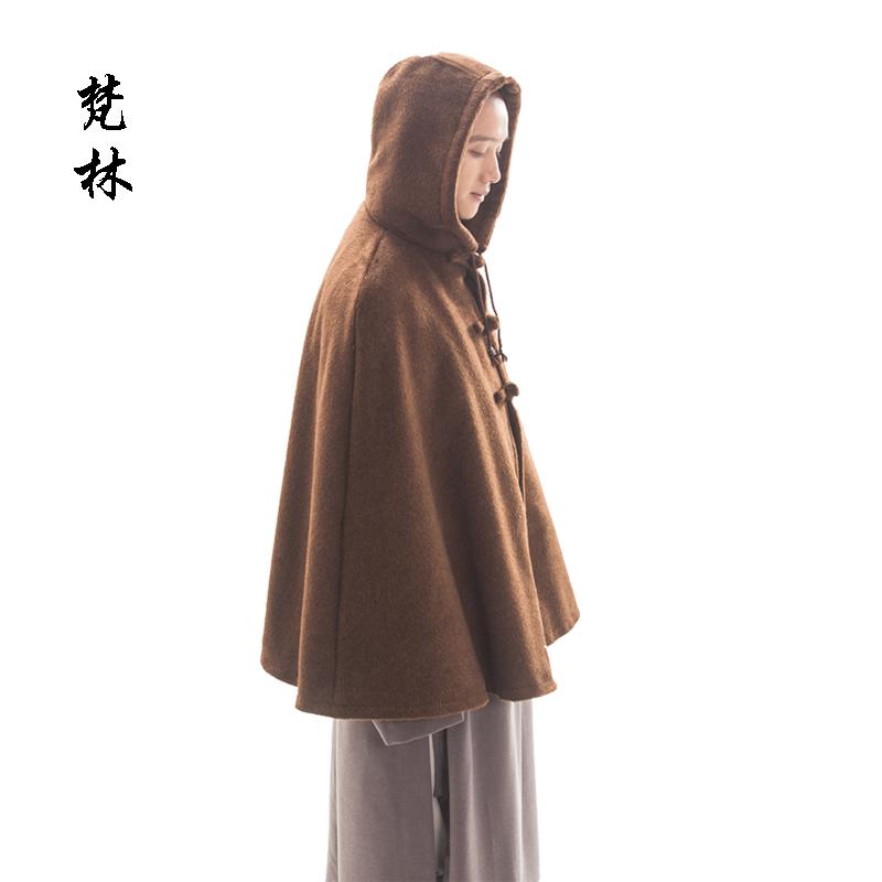 梵林僧服冬毛呢绒僧人打坐披风双层加厚禅修斗篷居士男女短款僧衣