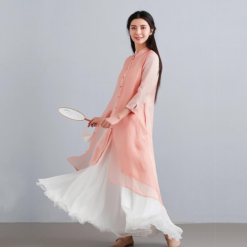汉服女改良夏装新款茶服中式开衫外套唐装上衣民族风不规则连衣裙