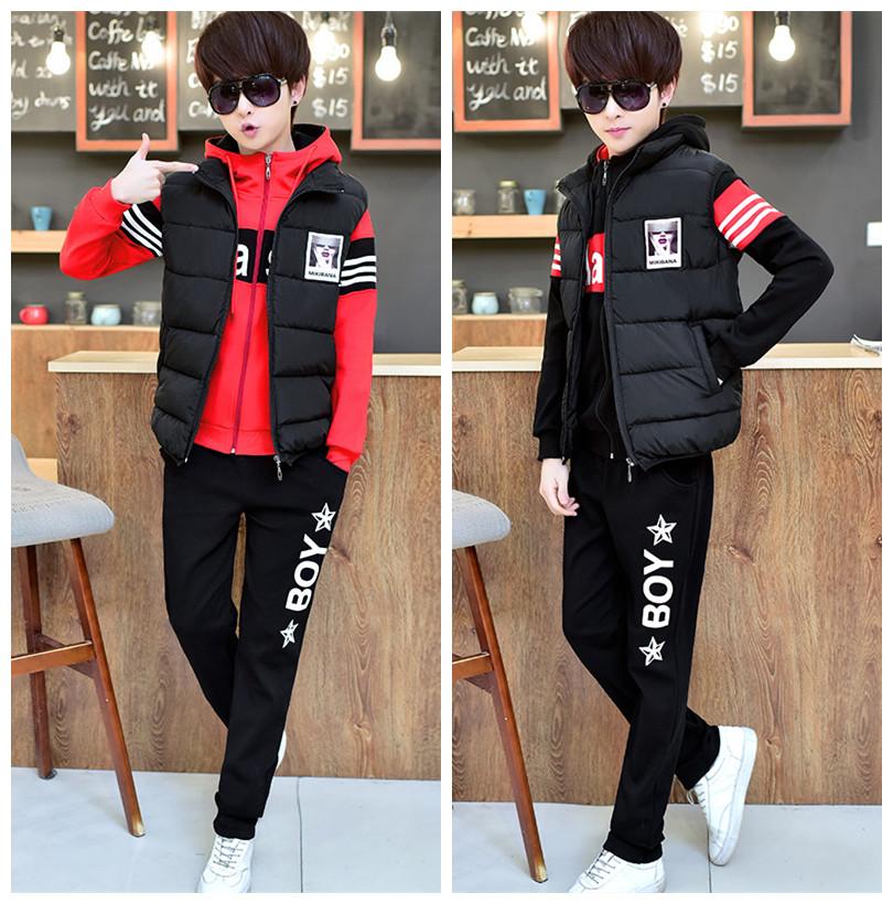 青少年套装男士2018春季韩版潮流外套卫衣初中学生帅气运动三件套
