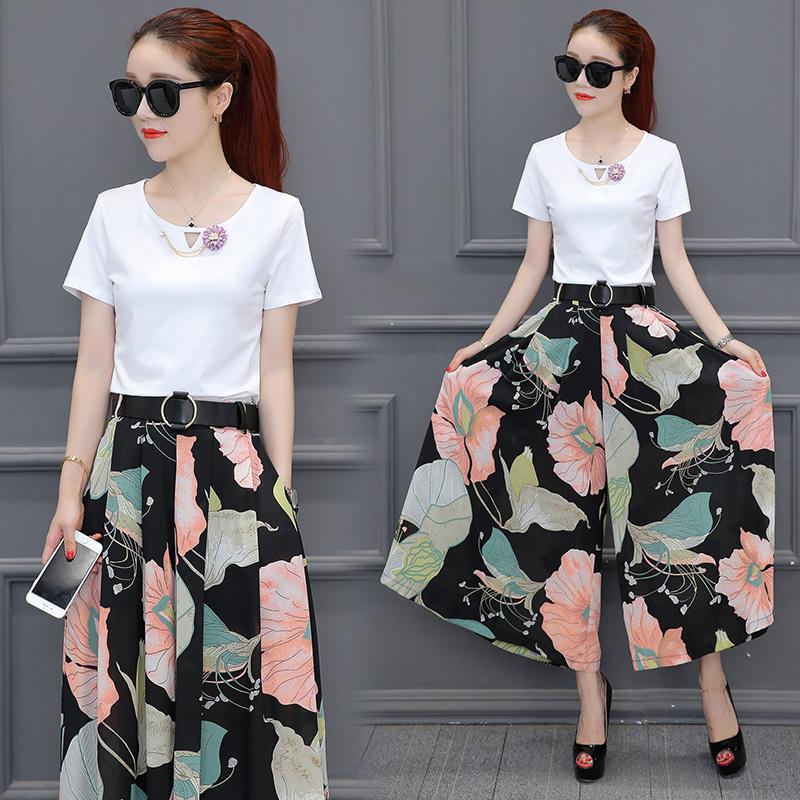 2018夏季新款女装韩版时髦气质雪纺印花时尚套装九分阔腿裤两件套