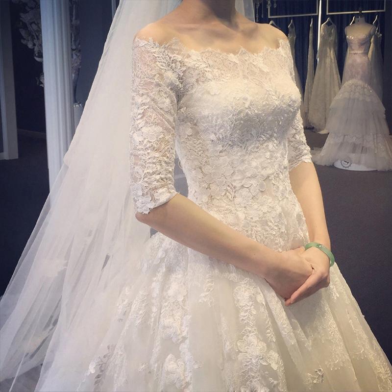 婚纱礼服2018新款新娘一字肩孕妇韩式显瘦长袖长拖尾齐地冬季婚纱