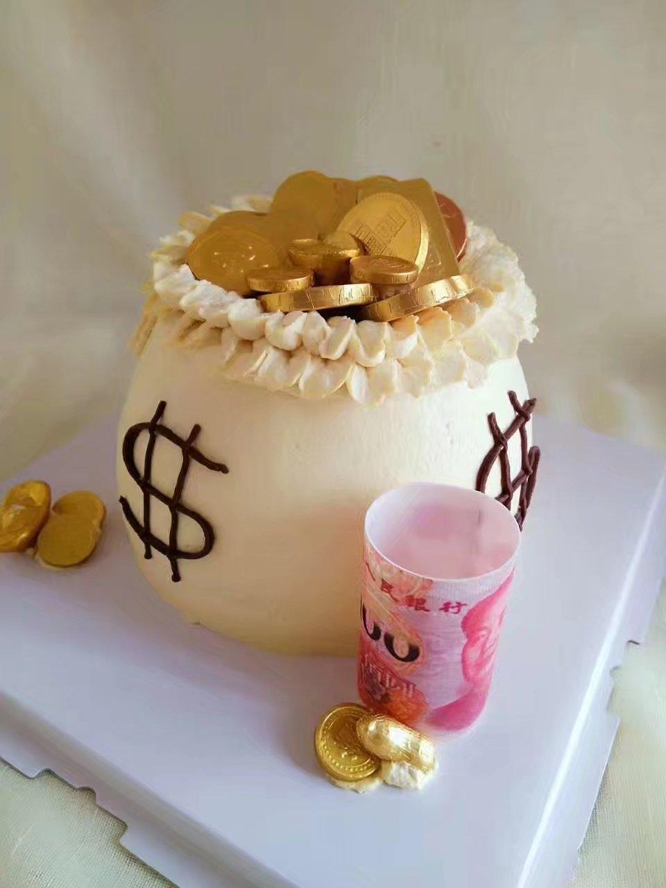 纯奶油蛋糕_奶q仔天津同城包邮聚宝盆造型纯乳脂奶油生日蛋糕创意蛋糕定制