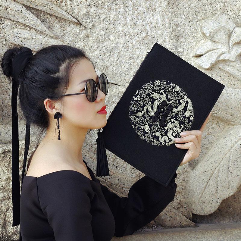 KK9_原创设计厚不织布复古唐装包时尚信封包晚宴手拿包女男手包邮