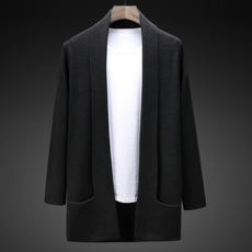 Autumn sweater men's jacket Korean casual wool cardigan in the long section of men's fashion Slim sweater tide men's clothing