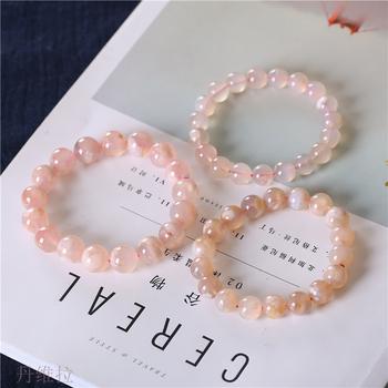 天然櫻花瑪瑙手鏈女款 櫻花瑪瑙單圈手串水晶時尚飾品禮物送閨蜜