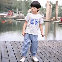 汉服童装男童中国风夏季薄款小孩复古古装民族风儿童唐装中式服装