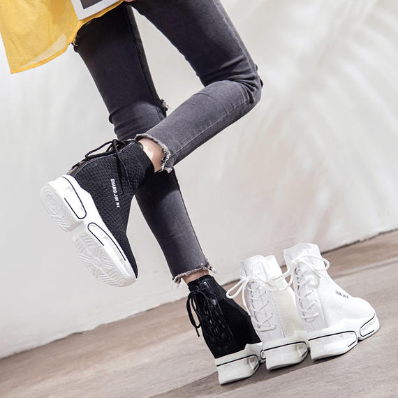Stretch socks shoes female summer new 2018 Harajuku wild casual Korean version of the thick bottom high to help increase the sneakers